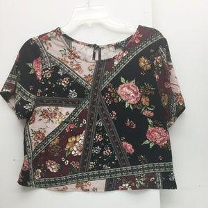 Iris Womens Black Floral Print Crop Top Blouse M